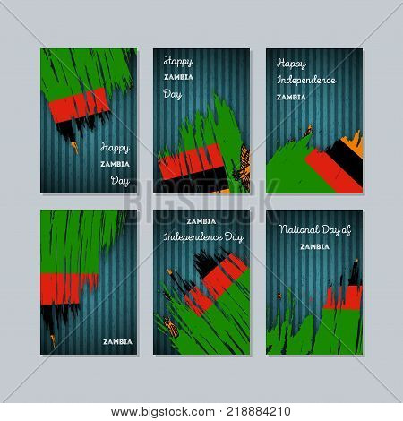 Zambia Patriotic Cards For National Day. Expressive Brush Stroke In National Flag Colors On Kraft Pa