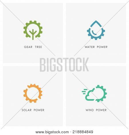 Alternative energy logo set. Green tree, drop of water, the sun, cloud and gear wheel or pinion symbol - solar, wind and hydro power, industry and ecology icons.