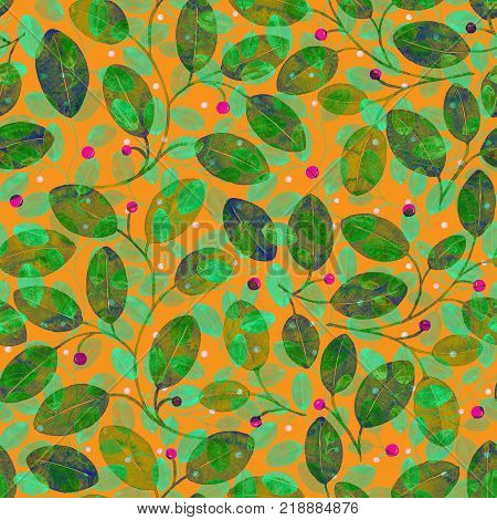 Foliage Seamless Pattern. Light Green Watercolor Abstract Background. Hand Painted Majestic Art Prin