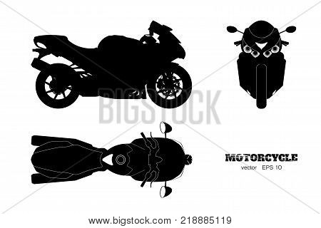 Black silhouette of motorcycle. Side, top and front view. Detailed isolated blueprint of motorbike on white background. Vector illustration