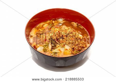 Sour soup with spawn fish Thai food