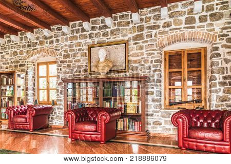BUDVA, MONTENEGRO - august 20, 2017: The Library in the Citadel of the Old Town of Budva. Originally known as Castle of St Mary the 9th-century fortification was used to protect the city.