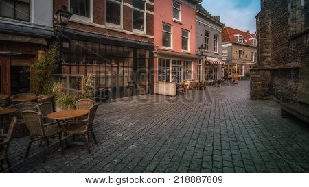 Vlissingen, Zeeland, Holland/Netherlands - November 2017: Small corner with traditional Dutch houses and shops in the shopping area of Vlissingen