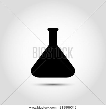 Vector flask icon. Vector chemistry icon with laboratory glassware. Concept of scientific medical and industrial research or diagnosis
