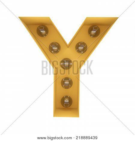 Letter Y light sign yellow vintage. 3D rendering