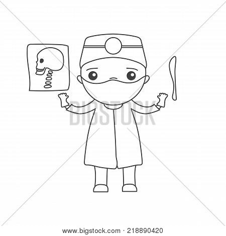Cute cartoon doctor - surgeon in linear style with x-ray of the skull and scalpel. Kawaii character for your design - vector illustration of coloring