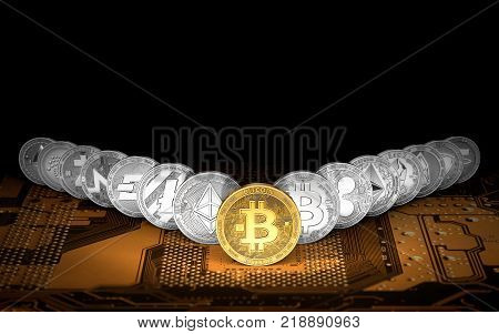 Golden Bitcoin on the front and 14 other cryptocurrencies standing on orange circuit board. Bitcoin as the leader having the highest value concept. 3D rendering