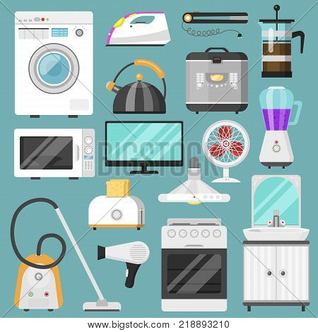 Electronic household appliances vector kitchen homeappliance for house set refrigerator washing machine in electric shop and vacuum cleaner in appliancestore illustration isolated on background.