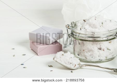 Handmade Lavender Scrub With Coconut Oil. Lavender Tonic. Toiletries, Spa Set