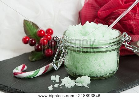 Handmade Mint Scrub With Coconut Oil. Toiletries, Spa Set