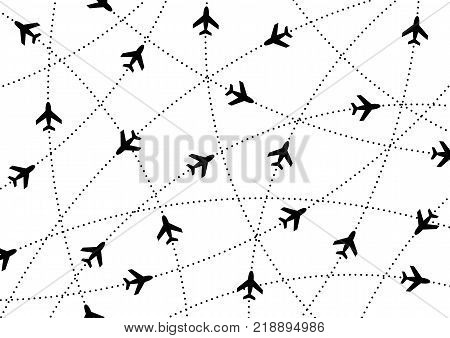 Airplane routes. Air travel. Air traffic silhouette. Black airplanes isolated on white background. Web site page and mobile app design element.