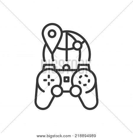 MMOG - line design single isolated icon on white background. High quality black pictogram, emblem of massively multiplayer online games. Image of a joystick and a globe poster