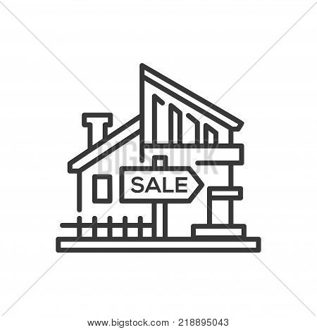 House for sale - line design single isolated icon on white background. High quality black pictogram with a nice building. Use this image for your business