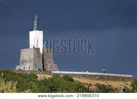 Gazebo Torch Monument, famous landmark in Vitoria Beach Resort on Terceira Island, Azores Archipelago, Portugal, Europe