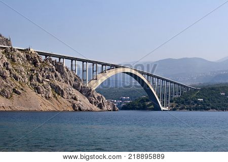Bigger arch of bridge Krk view from water level