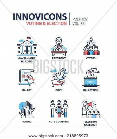 Voting and election - set of modern thin line design icons on white background. High quality red and blue pictograms. Government building, president, voters, ballot box, dove, counting, campaign