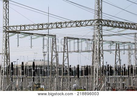 Wires insulatorsand electrical poles of power plant Sisak in Croatia