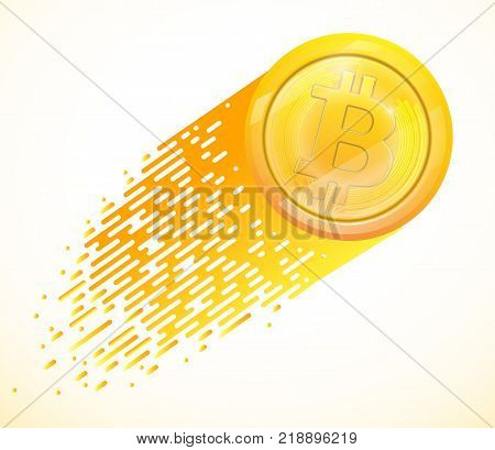 Bitcoins and New Virtual money concept.Background of Golden coin with icon letter Vector illustration EPS 10 of Golden Bitcoin