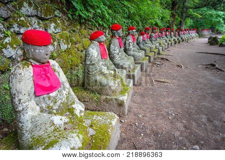 Narabi Jizo statues landmark in Kanmangafuchi abyss Nikko Japan