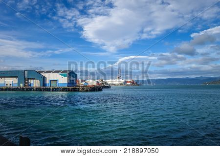 Wellington city harbour docks New Zealand north Island