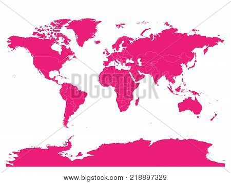 Pink map of World. High detail blank political map. Vector illustration with labeled compound path of each country.