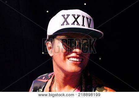 LAS VEGAS, USA - OCT 11, 2017: Bruno Mars, Madame Tussauds wax museum in Las Vegas Nevada.