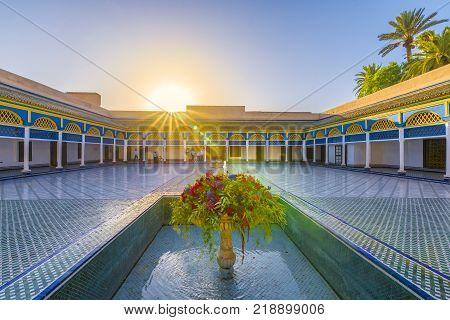 Bahia Palace Marrakech Morocco - November 09 2017: Courtyard at El Bahia Palace Marrakech Morocco