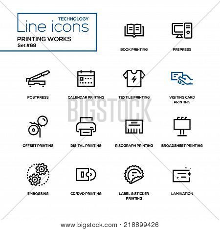Printing works - line design icons set. High quality black pictogram. Book, prepress, postpress, calendar, textile, visiting card, offset, digital, risograph, broadsheet, embossing, cd, dvd