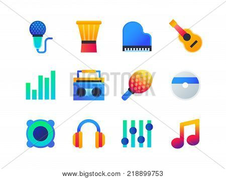 Music - set of flat design style icons isolated on white background. Microphone, piano, guitar, music, volume, cassette, cd, headphones, note, string, speakers, equalizer, darbuka, shaker, drum