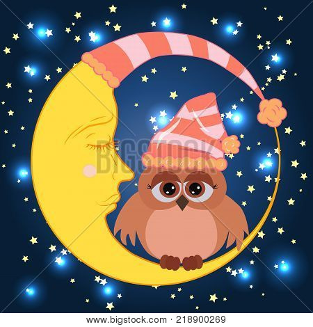 A sweet cartoon owl with sad eyes on a sleeping cap sits on a drowsy crescent moon against the background of a night sky with stars