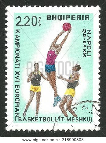 Albania - CIRCA 1969: Stamp printed by Albania Multicolor Memorable edition offset printing on the topic of European Basketball Championship 1969 in Italy shows Game Scene