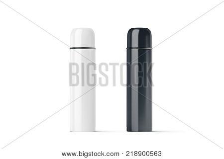 Blank black and white closed travel thermos mock up 3d rendering. Empty traveler bottle mockup isolated. Clear drink container template. Plain thermo mug for tea or coffee.