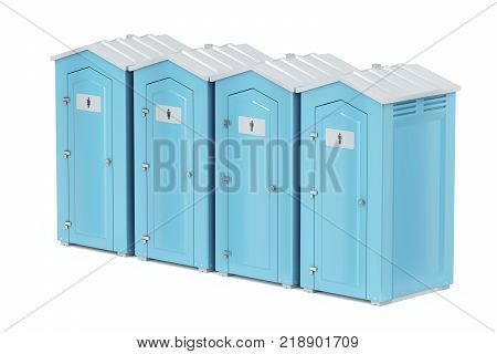 Row with four portable plastic toilets on white background, 3D illustration