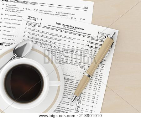 3D Rendering Of 1040 Tax Form On Desk