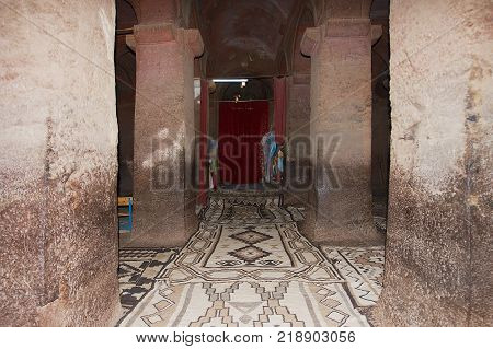 LALIBELA, ETHIOPIA - JANUARY 27, 2010: Interior of the largest rock-hewn church Bet Medhane Alem (House of the Saviour of the World) in Lalibela, Ethiopia. UNESCO World Heritage site.