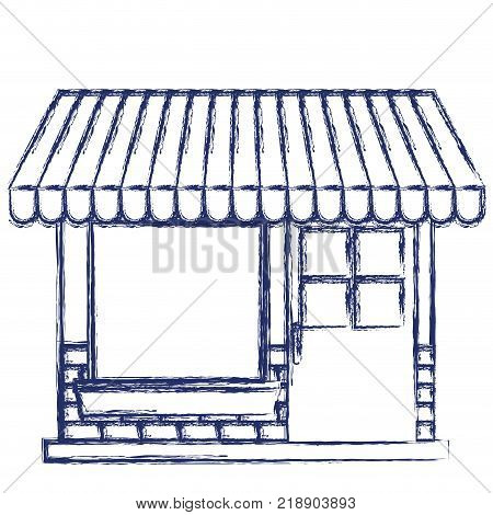 store facade with sunshade in dark blue blurred silhouette vector illustration
