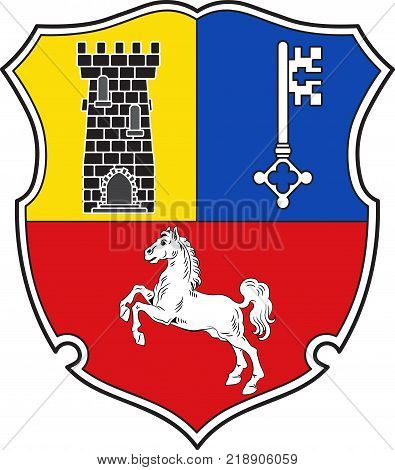 Coat of arms of Stade is a district in Lower Saxony Germany. Vector illustration
