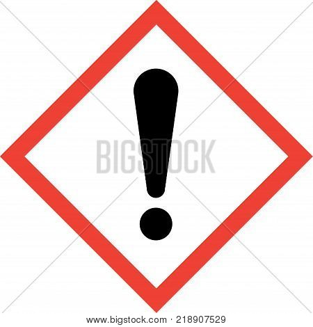 Hazard sign with exclamation mark symbol on white background