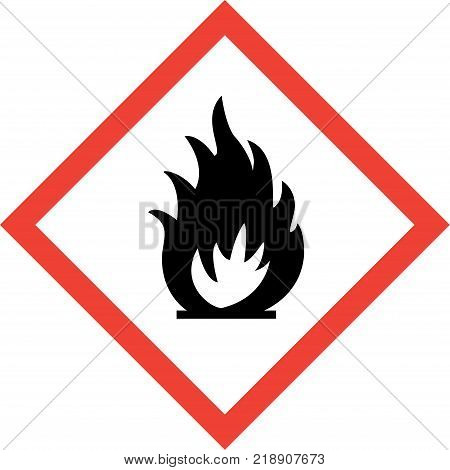Hazard sign with fire symbol symbol on white background