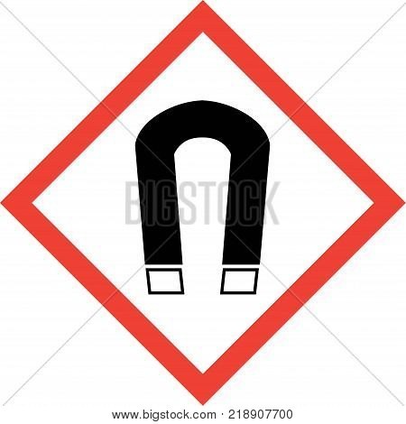 Hazard sign with magnetic field symbol on white background