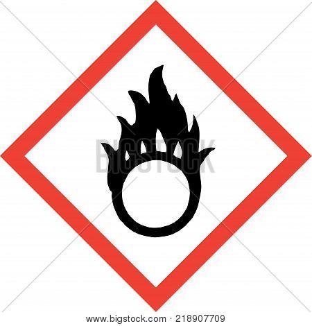 Hazard sign with oxidising substances symbol on white background