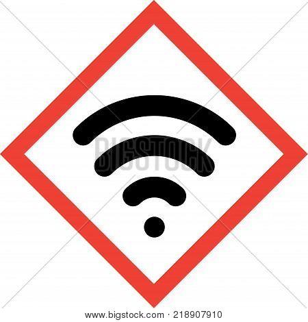 Hazard sign with wireless symbol on white background