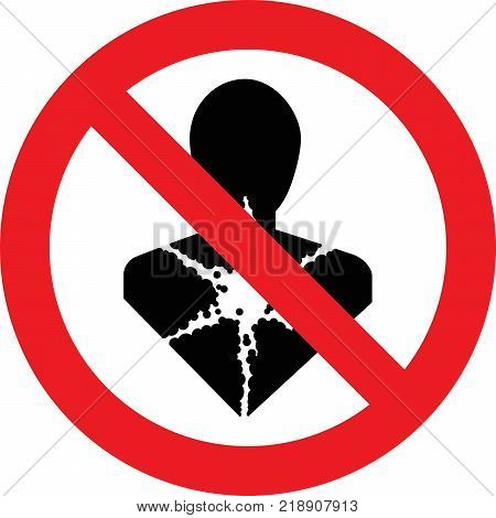 No carcinogenic substances allowed sign on white background