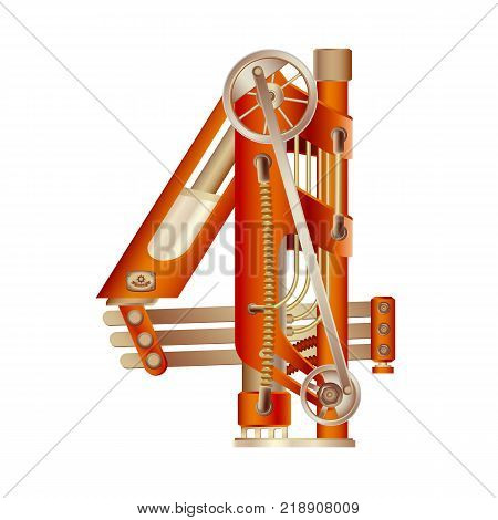 Arabic numeral 4, made in the form of a mechanism with moving and stationary parts on a steam, hydraulic or pneumatic draft. Isolated freely editable objects on a white background.