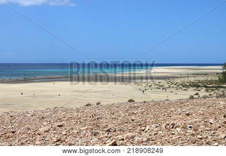 Sotavento Beach in Fuerteventura Canary Islands, Spain