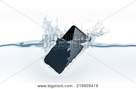Black new smartphone mockup falls in water 3d rendering. Mobile smart phone with touch screen mockup sinks under liquid surface. Electronic waterproof cellphone falling with splashes.