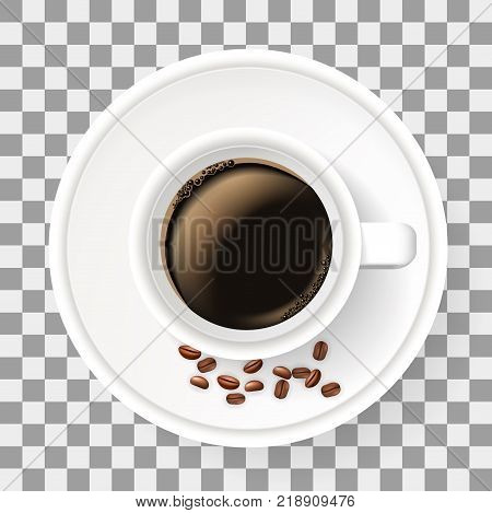 Top view of cup on saucer with coffee beans. Realistic object on the transparent background. Americano coffee.
