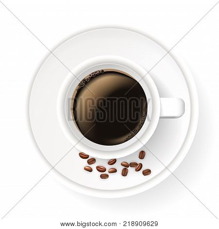 Realistic cup on saucer with coffee beans. Top view. Element isolated on the white background. Americano coffee.