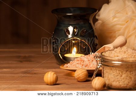 Aroma Lamp With Burning Candle. Aromatherapy. Himalayan Salt. Scrub. Spa Room