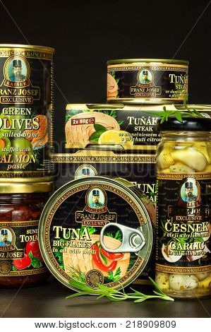 BRNO CZECH REPUBLIC - DECEMBER 16 2017: Kaiser Franz Josef Exclusive Canned Tuna With Chilli. Food for gourmets. Various types of delicacies of Kaiser Franz Josef Exclusive